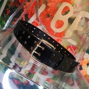 "Accessories - Shiny black ""grommet"" belt"